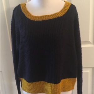 Sweater Color Block Navy Mustard NWT SZ L